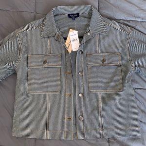 Cropped pinstripe jacket